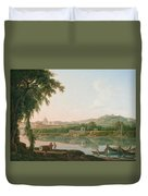 A Distant View Of Rome Across The Tiber Duvet Cover