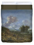 A Landscape With A High Dune And Peasants On A Road Duvet Cover
