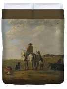 A Landscape With Horseman Herders And Cattle Duvet Cover