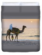 Little Boy Stares In Amazement At A Camel Riding On Marina Beach In Dubai, United Arab Emirates -  Duvet Cover