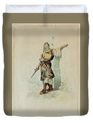 A Moorish Soldier Before A Sunlit Wall Duvet Cover