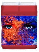 A Pair Of Beautiful Blue Women Eyes Beaming Color Earth Effect Painting Collage Violet Makeup Duvet Cover
