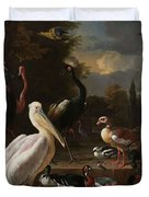 A Pelican And Other Birds Near A Pool, Known As The Floating Feather, Melchior D Hondecoeter, Duvet Cover