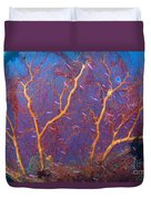 A Red Sea Fan With Purple Anthias Fish Duvet Cover by Steve Jones