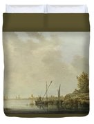 A River Scene With Distant Windmills Duvet Cover