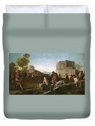 A Stickball Game Duvet Cover