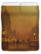 A Street At Night Duvet Cover