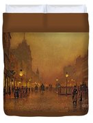 A Street At Night Duvet Cover by John Atkinson Grimshaw