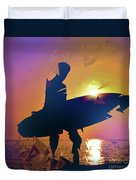 A Surfer Watching The Waves At Sunset Duvet Cover