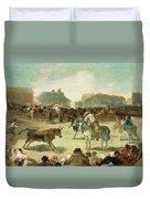 A Village Bullfight Duvet Cover