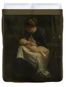 A Young Woman Nursing A Baby Duvet Cover