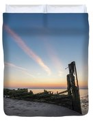 Abandoned Boat Sunset  Duvet Cover