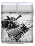 Abondoned Combine In Tall Grass Duvet Cover