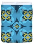 Abstract Mandala Cyan, Dark Blue And Yellow Pattern For Home Decoration Duvet Cover
