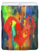 Abstract Red Heart Acrylic Painting Duvet Cover