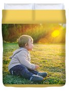 Adorable Baby Playing Outdoors Duvet Cover