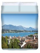 Aerial View Of Lucerne In Switzerland.  Duvet Cover