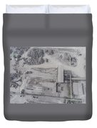 Aerial View Of Open Pit Sand Quarries.  View From Above.  Duvet Cover