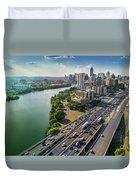 Aerial View Of The Austin Skyline As Rush Hour Traffic Picks Up On I-35 Duvet Cover