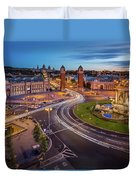 Aerial View On Placa Espanya And Montjuic Hill With National Art Duvet Cover