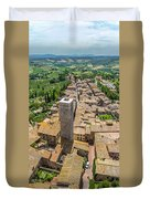 Aerial Wide-angle View Of The Historic Town Of San Gimignano Wit Duvet Cover