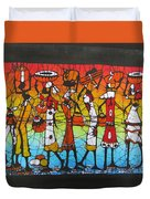 African Woman Carrying On Head Duvet Cover