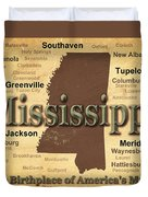 Aged Mississippi State Pride Map Silhouette  Duvet Cover