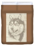Alaskan Malamute And Pup Duvet Cover