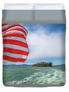 Alcatraz Island With American Flag Duvet Cover