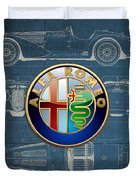 Alfa Romeo 3 D Badge Over 1938 Alfa Romeo 8 C 2900 B Vintage Blueprint Duvet Cover