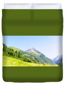 Alpine Mountain Peak Landscape. Duvet Cover