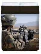 An Afghan Commando Scans The Horizon Duvet Cover