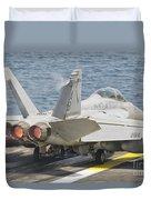 An Fa-18f Super Hornet Taking Off Duvet Cover