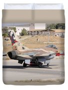 An Israeli Air Force F-16b Netz Taxiing Duvet Cover