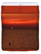 Angler In Summer Sunset Duvet Cover