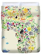 Animal Map Of Africa For Children And Kids Duvet Cover