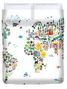 Animal Map Of The World For Children And Kids Duvet Cover