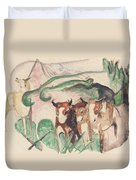 Animals In A Landscape Duvet Cover