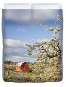 Apple Blossom Trees And A Red Barn In Duvet Cover