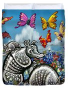 Armadillos Bluebonnets And Butterflies Duvet Cover