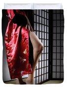 Asian Woman In Red Kimono Duvet Cover