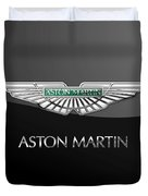 Aston Martin 3 D Badge On Black  Duvet Cover
