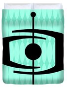 Atomic Shape 1 On Aqua Duvet Cover