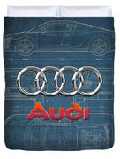 Audi 3 D Badge Over 2016 Audi R 8 Blueprint Duvet Cover by Serge Averbukh