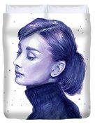 Audrey Hepburn Portrait Duvet Cover by Olga Shvartsur