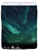 Aurora And Star Trails Duvet Cover