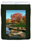 Autumn At The Deer Lake Creek Riffles In Forest Park St Louis Missouri Duvet Cover