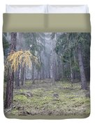 Autumn Coniferous Forest In The Morning Mist Duvet Cover
