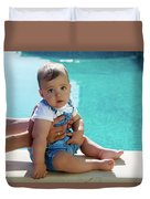 Baby Boy Sitting By The Pool Duvet Cover