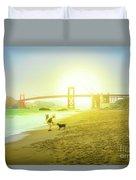 Baker Beach Dog Playing Duvet Cover